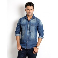 Deals, Discounts & Offers on Men Clothing - Rodid Men's Solid Casual Denim Dark Blue Shirt