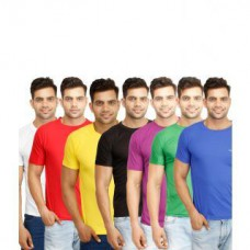 Deals, Discounts & Offers on Men Clothing - Pack of 7 Multicoloured Round Neck Mens T-Shirt