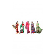 Deals, Discounts & Offers on Women Clothing - Combo of 5 Georgette Printed Saree