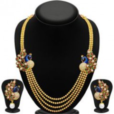 Deals, Discounts & Offers on Earings and Necklace - Sukkhi Gleaming Peacock Four Strings Gold Plated Necklace Set