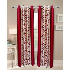 Deals, Discounts & Offers on Home Decor & Festive Needs - iLiv Maroon Kolaveri Window Curtains -set of 2