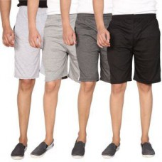 Deals, Discounts & Offers on Men Clothing - Swaggy Solid Mens Short Combo of 4