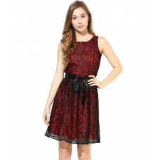 Deals, Discounts & Offers on Women Clothing - The Vanca Maroon and Black Lace Dress