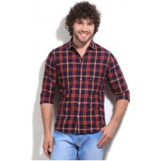 Deals, Discounts & Offers on Men Clothing - United Colors of Benetton Men's Checkered Casual Dark Blue, Red Shirt