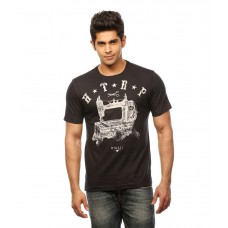 Deals, Discounts & Offers on Men Clothing - Huetrap Black Cotton HTRP Antique Sewing Machine T-shirt