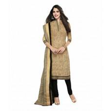 Deals, Discounts & Offers on Women - Sonal Dresses Khaki Cotton Unstitched Dress Material