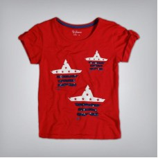 Deals, Discounts & Offers on Kid's Clothing - GJ Jeans Unltd Casual Short Sleeve Printed Girl's Red Top
