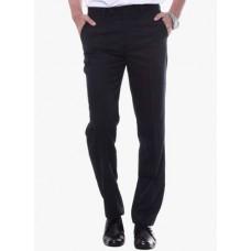 Deals, Discounts & Offers on Men Clothing - Sangam Apparels Navy Blue Solid Regular Fit Formal Trouser
