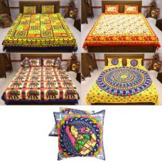Deals, Discounts & Offers on Home Appliances - 100% Cotton Rajasthani Bedsheets - Pack Of 4 + 2 Cushion Covers By Incredible Home