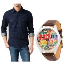 Deals, Discounts & Offers on Men - Combo of Koutons Denim Shirt With A Stylish Brown Leather Analog Watch For Men