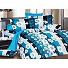 Deals, Discounts & Offers on Home Decor & Festive Needs - Welhouse 3 Pcs Floral Blue Cotton Double Bedsheet Set