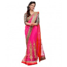 Deals, Discounts & Offers on Women Clothing - Bluebird Impex Multicoloured Net Saree