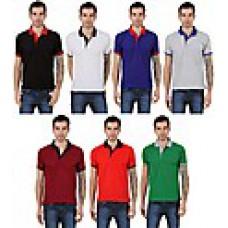 Deals, Discounts & Offers on Men Clothing - Eprilla Combo Of 7 Men Stylish Plain Polo T Shirts