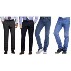 Deals, Discounts & Offers on Men Clothing - Combo Of 2 Formal Trousers And 2 Denim Jeans