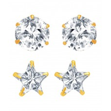 Deals, Discounts & Offers on Women - Jewels Galaxy American Diamond Gold Plated Studs Earrings Combo