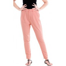 Deals, Discounts & Offers on Women Clothing - Revoure Slim Fit Women's Pink Trousers
