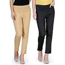 Deals, Discounts & Offers on Women Clothing - Oleva Combo Of 2 Plain Women Trousers