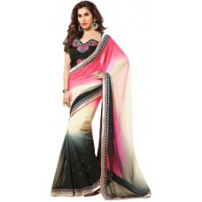 Deals, Discounts & Offers on Women Clothing - Rajwadi Embriodered Fashion Handloom Georgette Sari