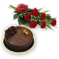 Deals, Discounts & Offers on Home Decor & Festive Needs - Buy Red Roses Bouquet with Cake @ Rs.698.