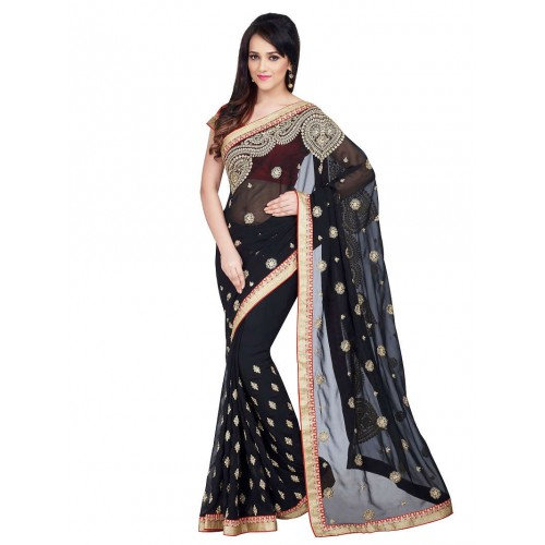Flat 60% off on Georgette Embroidered Saree Women Clothing ...
