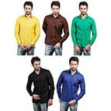 Deals, Discounts & Offers on Men Clothing - Combo of 5 Cotton Men Formal Shirts at Rs 1169 only