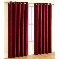 Deals, Discounts & Offers on Home Decor & Festive Needs - Elegance Red Set of 2 Door Curtains (7 Ft) at Rs 399 only