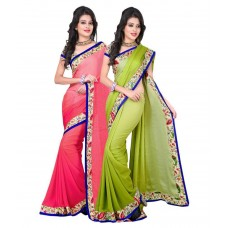 Deals, Discounts & Offers on Women Clothing - VARSHA SAREES Pink & Green Georgette Pack of 2