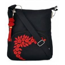 Deals, Discounts & Offers on Women - Pick Pocket Black Canvas Cloth Sling Bag