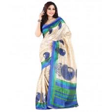 Deals, Discounts & Offers on Women Clothing - Flat 73% off on e-vastram Blue Cotton Silk Saree
