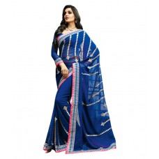Deals, Discounts & Offers on Women Clothing - Dolly J By Vishal Blue Georgette Saree offer