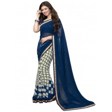 Deals, Discounts & Offers on Women Clothing - Portpanther Embriodered Bollywood Handloom Velvet Sari
