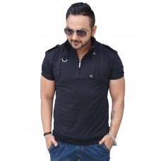Deals, Discounts & Offers on Men Clothing - Black Collection Stylish Dragon Neck Solid T shirt With Small Belt