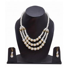 Deals, Discounts & Offers on Women - Sagun Pearl Necklace Set In 3 Rows With Diamond Look Stone