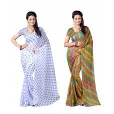 Deals, Discounts & Offers on Women Clothing - Brahmi Fashion Multicolour Faux Chiffon Pack Of 2