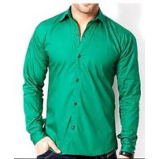 Deals, Discounts & Offers on Men Clothing - Green Plain Men Cotton Shirt at Rs 349 only