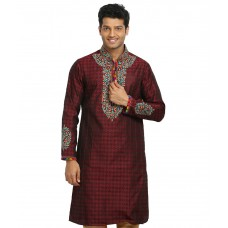 Deals, Discounts & Offers on Men Clothing - Runako Embroidery Maroon Kurta Pajama