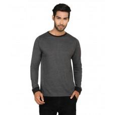 Deals, Discounts & Offers on Men Clothing - Sayitloud Solid Black Melange Ribbed Cuff Cotton Basics T-shirt