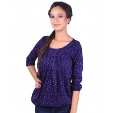 Deals, Discounts & Offers on Women Clothing - F-image Blue Poly Crepe Tops offer