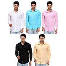 Deals, Discounts & Offers on Men Clothing - Combo of 5 Men Plain Formal Shirts at Rs.999 only