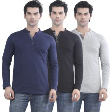 Deals, Discounts & Offers on Men Clothing - Maniac Solid Men's Henley T-Shirt offer