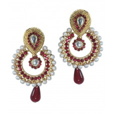 Deals, Discounts & Offers on Earings and Necklace - Grand Jewels Maroon & White Hanging Earrings