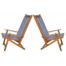 Deals, Discounts & Offers on Home Appliances - Exculsive Set Of Two Leisure Blue Stripes Folding Chair