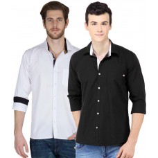 Deals, Discounts & Offers on Men Clothing - Ghpc White Black Cotton Shirts Combo Set
