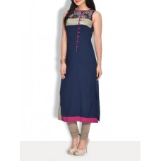 Deals, Discounts & Offers on Women Clothing - Navy blue crepe long kurta with printed yoke