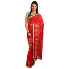 Deals, Discounts & Offers on Women Clothing - Rasika Shubham Red Embellished Saree offer