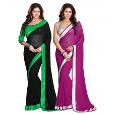 Deals, Discounts & Offers on Women Clothing - Bunny Sarees Multicolour Faux Chiffon Pack Of 2