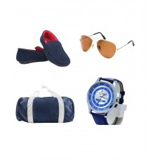 Deals, Discounts & Offers on Accessories - Ziera Men Loafers, Red Marine Watch, LYDC Sunglasses, Belt And Gym Bag Combo