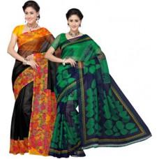 Deals, Discounts & Offers on Women Clothing - Aanya Printed Kota Doria Kota Cotton Sari
