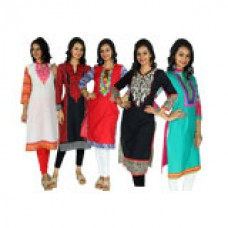 Deals, Discounts & Offers on Women Clothing - Colours Rajasthan PO5 Cotton Embroidered Kurta