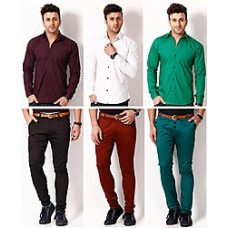Deals, Discounts & Offers on Men Clothing - RPB Combo of 3 Chinos with 3 Plain Men Shirts